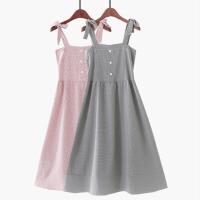 2018夏季新款格子蝴蝶结系带复古高腰松紧雪纺长裙度假沙滩裙