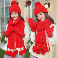 女友生日圣诞节礼物毛线帽子围巾手套三件套装一体帽子女冬天韩版