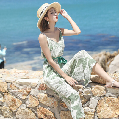 RANJU 然聚2018女装夏季新品新款吊带连体裤裙带腰带小清新度假沙滩裙裤