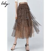 【不打烊价:263元】 Lily2019秋新款女装豹纹蓬蓬裙蛋糕裙网纱裙中长款高腰半身裙6903