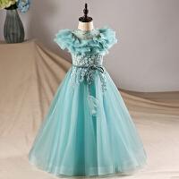 女童主持人钢琴演出服蓬蓬裙长袖长裙儿童礼服秋冬公主裙花童婚纱 天蓝色