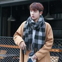 男士围巾冬季格子新款英伦加厚仿羊绒年轻人学生韩版围脖
