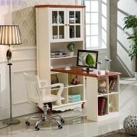 地中海风格转角书桌美式田园书柜学生电脑桌家具书架组合实木落地