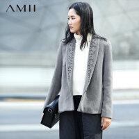 【券后秒杀80元】Amii[极简主义]秋冬翻领羊毛大衣大码短款毛呢外套女11572053