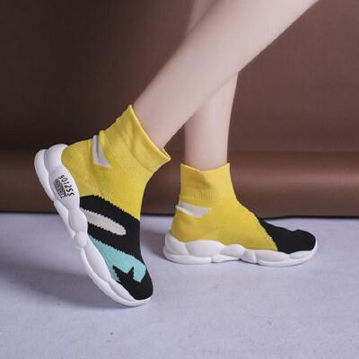 休闲平底日常运动鞋老爹鞋高帮鞋女潮嘻哈弹力袜子鞋 品质保证 售后无忧