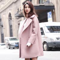 冬季新款长袖羊毛呢大衣 韩版宽松纯色中长款呢子外套上衣 粉色
