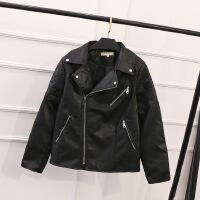 0斤胖妹妹大码女装秋冬装外套韩版新款时尚女式皮衣短外套 黑色