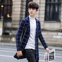 冬季风衣男中长款外套韩版修身格子毛呢大衣男士潮流帅气上衣 藏青色 M