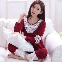 春秋季女士纯棉厚款长袖长裤纯色花边睡衣可外穿家居服