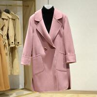 双面呢大衣女冬装新款 韩版翻领纯色中长款休闲呢子外套