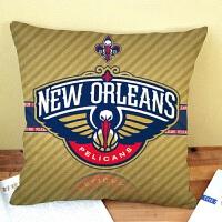 新款 抱枕 篮球队棉麻抱枕靠垫咖啡厅汽车亚麻枕套