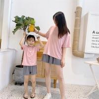 夏装童装儿童家居服套装女童短袖亲子装三件套