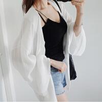 夏季防晒衣短款宽松bf学生户外防紫外线薄款外套雪纺开衫披肩女 白色