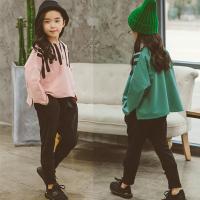 儿童运动套装宽松2018秋装新款韩版男女童蝙蝠衫T恤+哈伦裤两件套