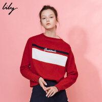 【每满200减100】Lily2018冬新款女装经典宽松字母毛衣一字领毛衣117429B8925