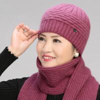冬天老年人帽子女兔毛针织毛线帽冬季加厚妈妈帽中老年奶奶保暖帽