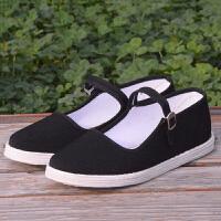 传统老北京布鞋女士千层底一字扣带中老年人鞋透气纯布底工作鞋子 黑色