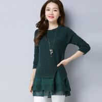 秋冬季新款韩版时尚长袖假两件上衣女 蕾丝拼接女式针织衫