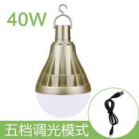 夜市地摊LED球泡灯移动充电户外露营帐篷家用节能照明应急蓄电灯 40W金+usb