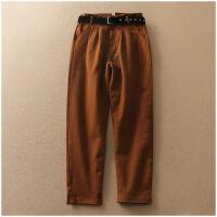 特价 春季新品纯色长裤宽松腰带装饰百搭高腰休闲裤女11130