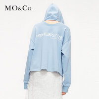 MOCO2019春季新款镂空宽松慵懒风连帽套头卫衣女MAI1SWS007摩安珂