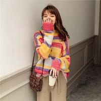 七格格毛衣女2020春季新款韩版宽松半高领彩虹条慵懒风百搭针织衫