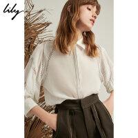 【2件4折到手价:279.6元】 Lily20夏新款精致镂空A型宽松七分袖套头衫衬衫女119220C8121