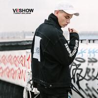 VIISHOW2018新款夹克男 春季潮牌牛仔夹克衫方领韩版帅气青年外套