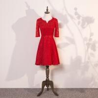 敬酒服新娘冬季2017新款红色短款回门服结婚婚礼宴会晚礼服女 红色
