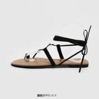 平底凉鞋女夏2018新款学生简约百搭韩版夹趾罗马系带平跟沙滩凉靴
