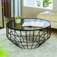 北欧家具创意小户型客厅铁艺钢化玻璃茶几圆形透明桌子现代简约 整装