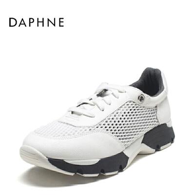 Daphne/达芙妮运动鞋女低跟系带网纱休闲单鞋女