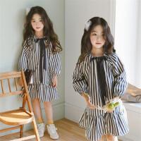 女童长袖连衣裙2018春装新款韩版童装中大童荷叶边儿童条纹公主裙