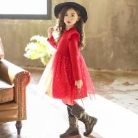 女童新年童装冬款加绒加厚红色网纱公主裙韩版中大童打底连衣裙子
