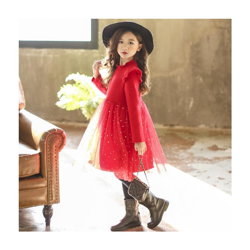 女童新年童装冬款加绒加厚红色网纱公主裙韩版中大童打底连衣裙子 发货周期:一般在付款后2-90天左右发货,具体发货时间请以与客服协商的时间为准