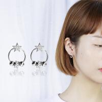 韩国耳钉女气质个性百搭镶钻星圆耳环少女心ins网红纯银耳环耳饰