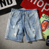 夏季破洞牛仔短裤男士加肥大码薄款宽松五分裤潮流夏天直筒5分裤 图片色