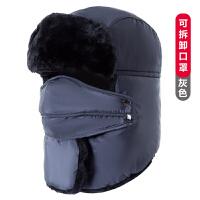 雷锋帽男冬季女士东北户外防风保暖帽子加绒加厚骑车帽冬天防寒帽 可调节