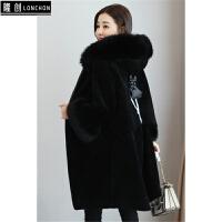 羊剪绒皮草外套女中长款冬季新款连帽一体风衣外套羊毛大衣潮
