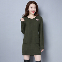 新款外穿毛衣女秋冬款中长款宽松大款韩版套头加厚打底羊绒衫