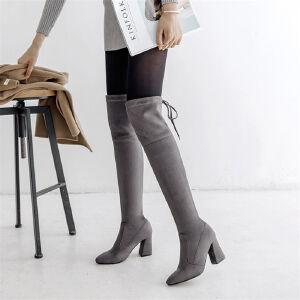 O'SHELL欧希尔新品133-9425欧美磨砂绒面粗跟高跟女士过膝长靴