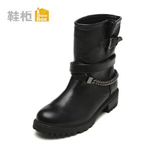 达芙妮集团鞋柜秋冬欧美时尚女短靴链条搭扣中筒骑士靴-1
