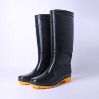 男款高筒雨鞋牛筋底雨靴防水防滑劳保水鞋胶鞋厨房鞋 黑色