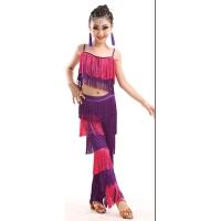 儿童拉丁舞少儿比赛演出流苏恰恰舞连衣裙女童练功服装表演分体夏