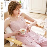 【芬腾睡衣,领券后:109】芬腾玛伦萨 女士夏季甜美吊带睡衣柔软舒适棉感女款家居服套装