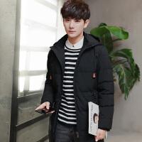 羽绒服男中长款休闲冬季新款韩版修身青年加厚保暖外套男轻薄外衣