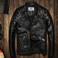 冬季男装真皮皮衣男士青年立领斜拉链机车皮夹克修身短款潮男外套 黑色