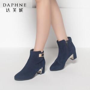 达芙妮正品女鞋秋冬季时尚性感尖头金属女靴子磨砂粗跟高跟鞋短靴