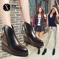 毅雅秋冬女鞋内增高短靴加绒靴防水台坡跟女士皮靴