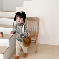 儿童半高领毛衣冬季男童格纹针织衫儿童洋气
